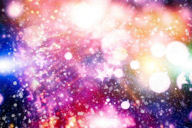 Luzes e estrelas de brilho abstrato. feliz natal feliz ano novo cartão conceito muitos flocos de neve queda de neve no inverno