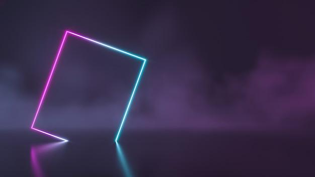 Luzes futuristas de néon azul e roxa da sci fi brilhando com uma parede de fumaça. renderização 3d