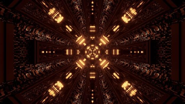 Luzes futuristas de tecnologia de ficção científica com renderização 3d amarela