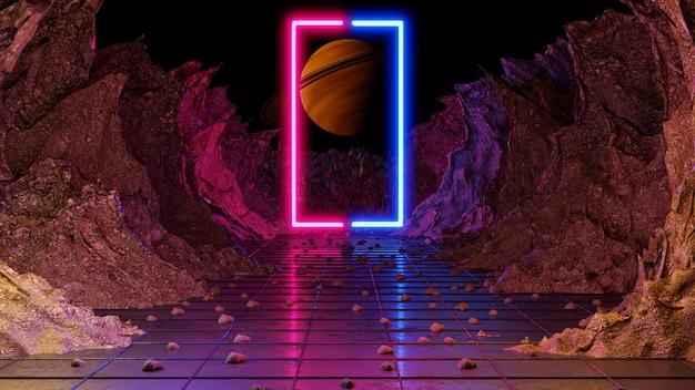 Luzes na paisagem sifi. renderização 3d.