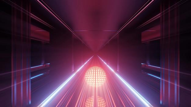 Luzes neon em um corredor