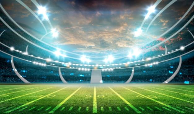 Luzes noturnas e estádio de futebol 3d