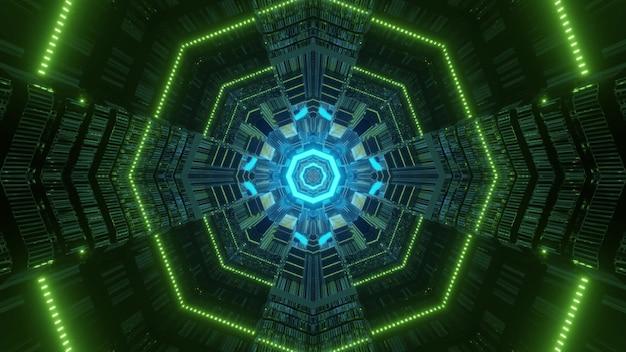 Luzes simétricas de néon vivas formando um ornamento em forma de octógono dentro do túnel