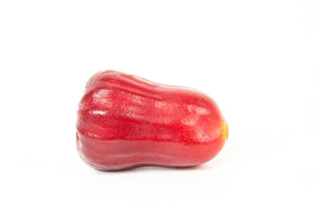 Maçã rosa completa ou maçã java em fundo branco