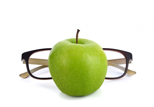 Maçã verde fresca com óculos