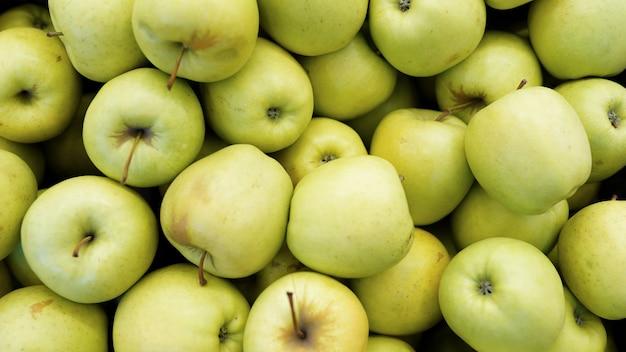 Maçã verde, fruta crua, fundos