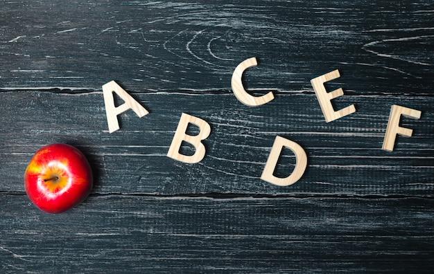 Maçã vermelha e alfabeto