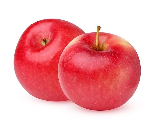 Maçã vermelha isolada no fundo branco. duas frutas maduras.