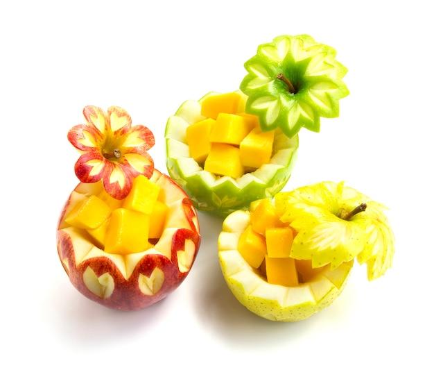 Maçã vermelha, verde e laranja tipo três esculpida para frutas