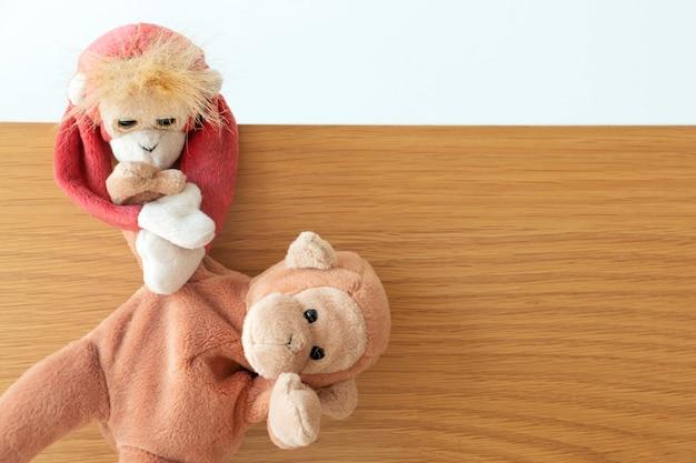 Macaco está puxando a mão de um amigo travesso do perigo