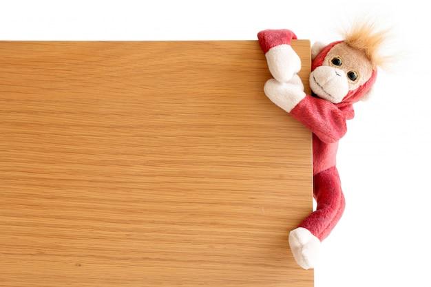 Macaco safado está pegando a placa de madeira