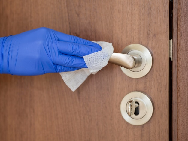 Maçaneta para portas higienizante