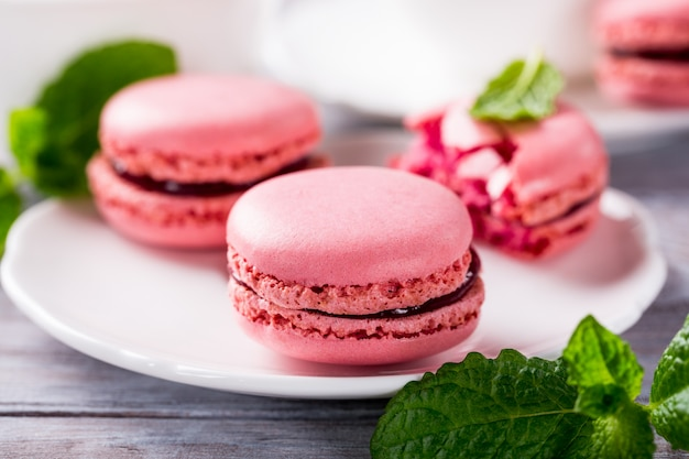 Macarons de framboesa francesa