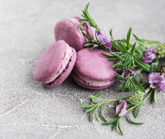 Macarons franceses com sabor de lavanda