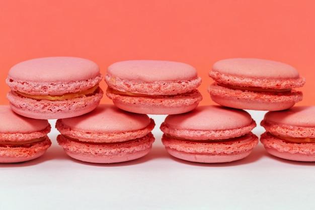 Macarons frensh saborosos. fundo de comida com espaço de cópia. conceitos sobre decoração.