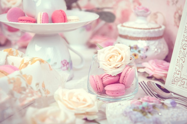 Macarons ou macaroons sobremesa doce bonita para comer
