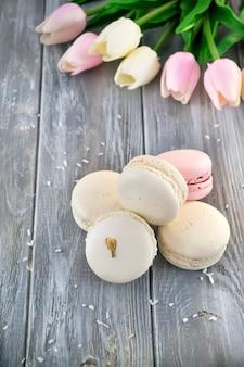 Macaroons de francês com flor