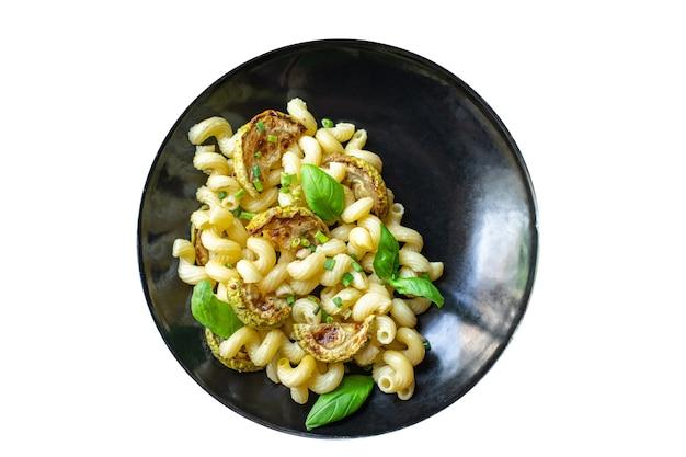 Macarrão abobrinha vegetal e macarrão sem carne porção fresca refeição lanche na mesa cópia espaço comida