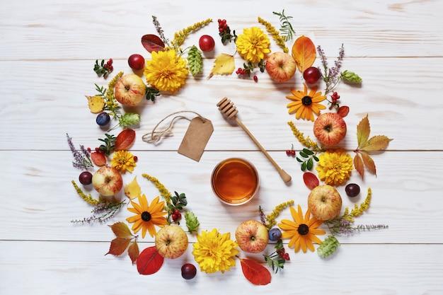 Maçãs, flores e mel