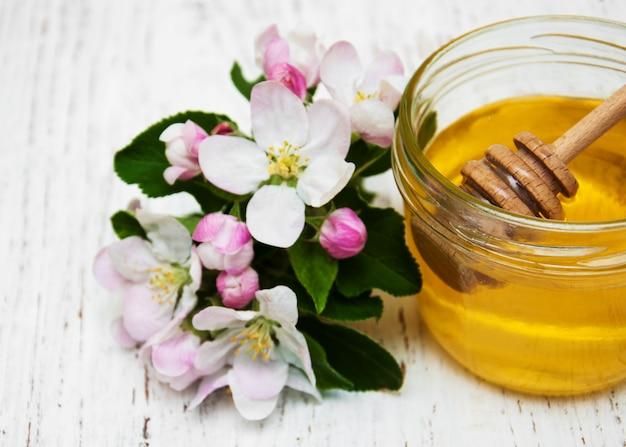 Maçãs florescem com mel