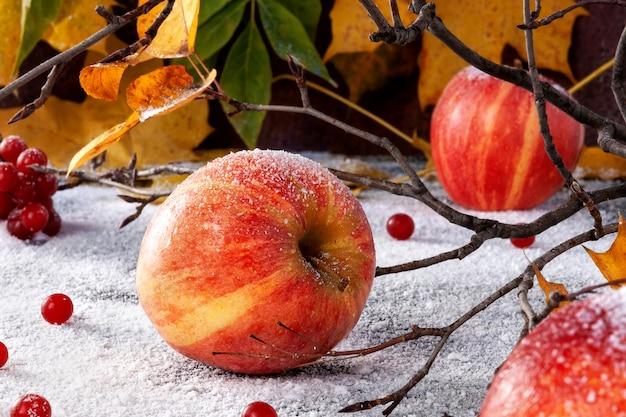 Maçãs listradas polvilhadas com açúcar em pó. o prato simula maçãs na neve