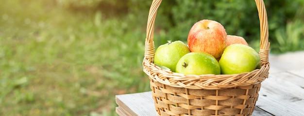 Maçãs verdes e vermelhas na cesta de vime na mesa de madeira grama verde no jardim tempo de colheita banner horisontal