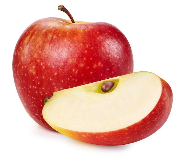 Maçãs vermelhas isoladas no fundo branco. caminho de recorte de maçãs maduras e frescas