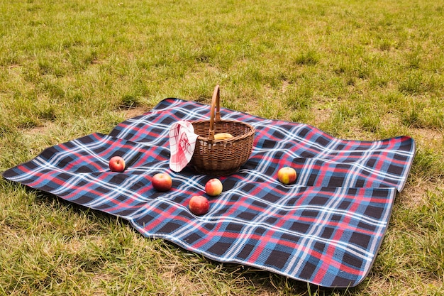 Maçãs vermelhas no cobertor com cesta de piquenique no parque