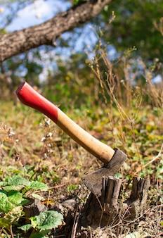 Machado preso no toco, cortando árvores no jardim com um machado