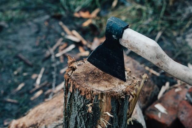 Machado se projeta no toco da árvore cortando lenha, colhendo para o inverno ao ar livre