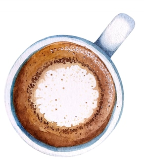Machiato da xícara de café da aquarela, vista superior.
