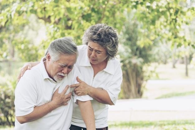 Macho asian sênior, sofrimento, de, mau, dor, em, seu, peito, ataque cardíaco, em, parque, esposa, marido apoiando