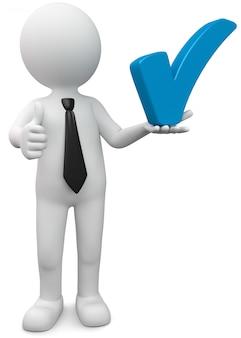 Macho branco da ilustração 3d prende o gancho azul