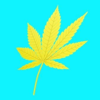 Maconha medicinal amarela ou folha de cânhamo de cannabis no estilo duotônico sobre um fundo azul. renderização 3d