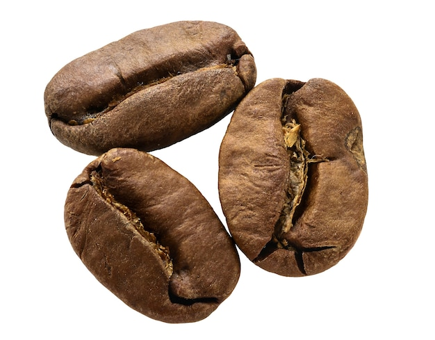 Macro close-up de grãos de café isolada no fundo branco
