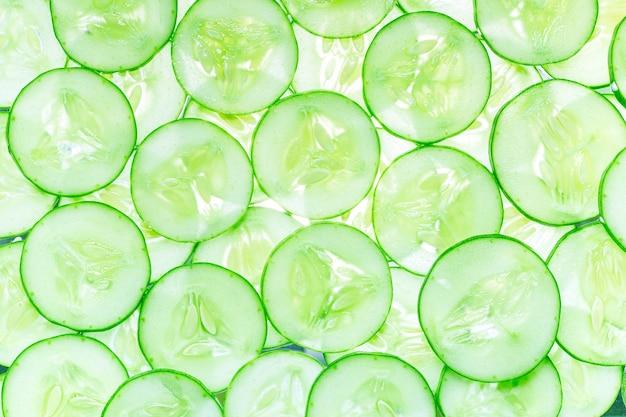 Macro cucumberfresh slice pepino no fundo