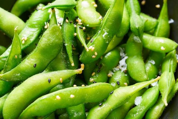 Macro de close-up de soja fresco de edamame