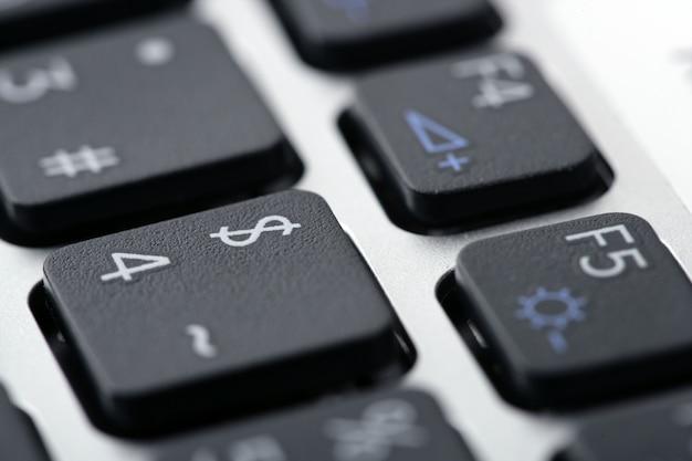 Macro de closeup de keywboard de computador portátil