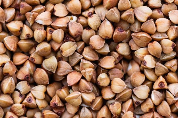 Macro de grumos de trigo sarraceno. nutrição saudável, dieta.