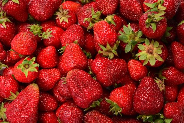 Macro de morangos. fundo de frutas. vista do topo.