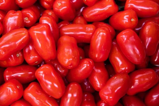 Macro de muitos tomates recém-colhidos vermelhos longos brilhantes, vista aérea, contexto abstrato.