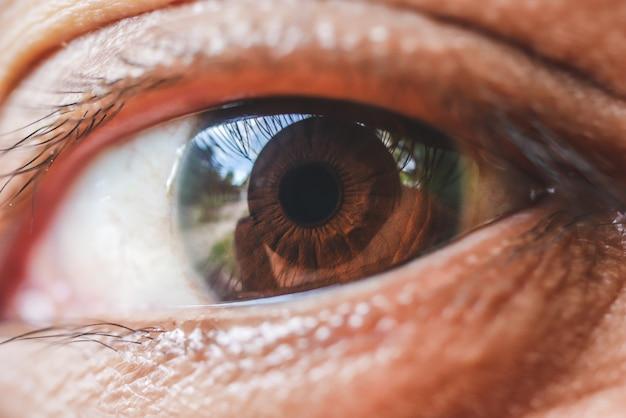 Macro de olho de mulher de ásia