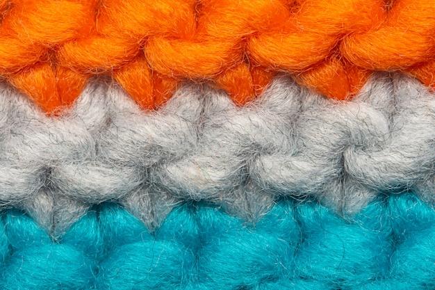 Macro de textura de camisola de malha colorida. fundo de espaço vazio cópia com camisola saturada.