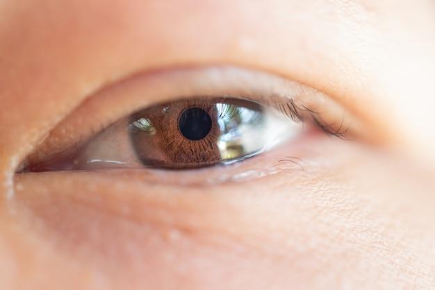 Macro do olho, visão ocular do conceito de mulher asiática