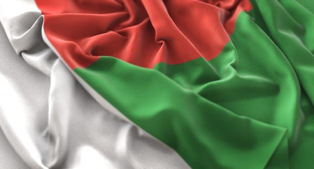 Madagascar flag ruffled beautifully waving macro close-up shot