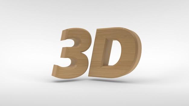 Madeira 3d logotipo isolado no espaço em branco com efeito de reflexão. renderização em 3d.