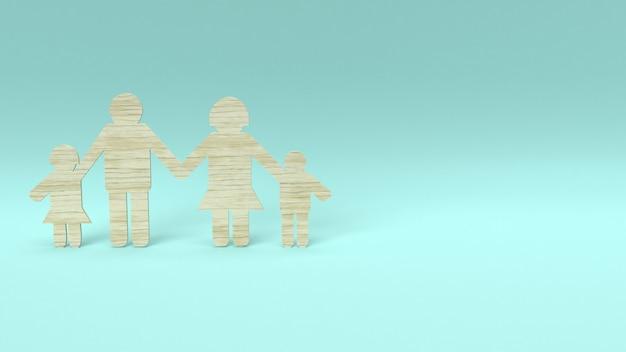 Madeira de grupo familiar cortado para o conceito de casa.