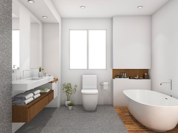 Madeira de renderização 3d e banheiro de design de telha perto da janela