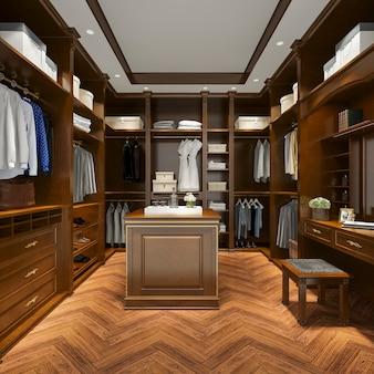 Madeira escandinava de renderização 3d de luxo andar no armário com roupeiro