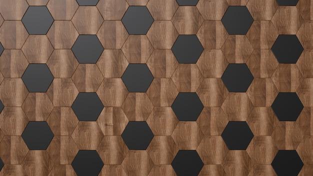 Madeira escura. painéis hexagonais pretos e marrons.